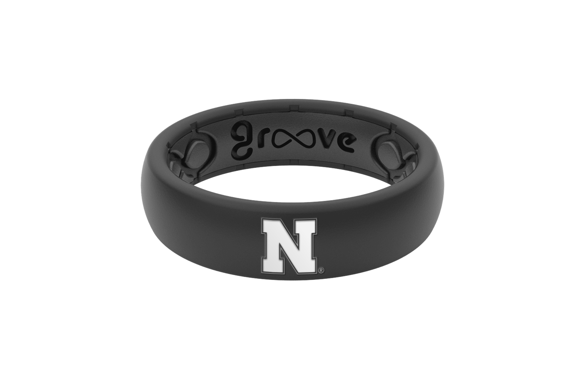 Thin College Nebraska Black - Groove Life Silicone Wedding Rings