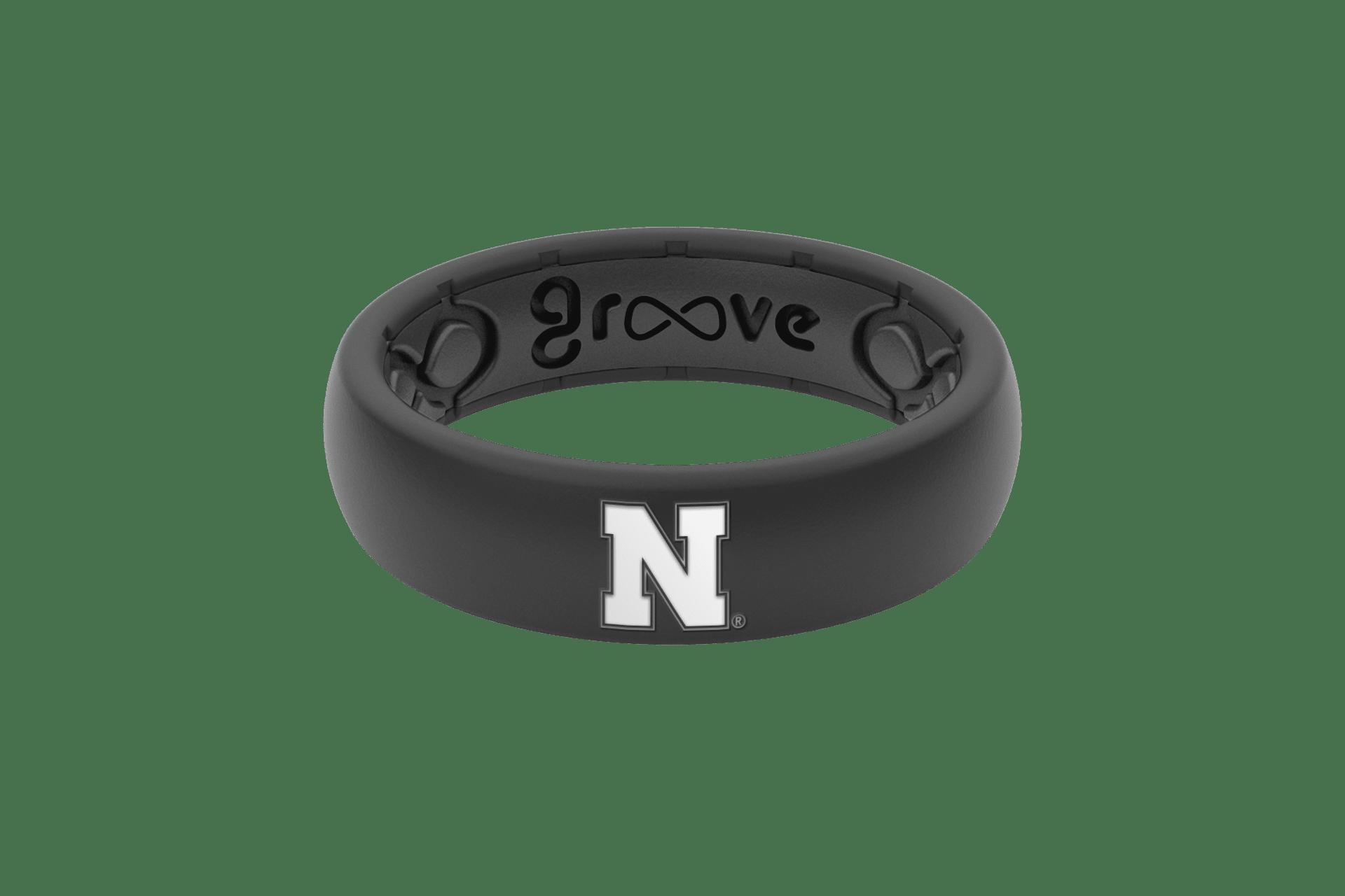 Thin College Nebraska Black  viewed front on