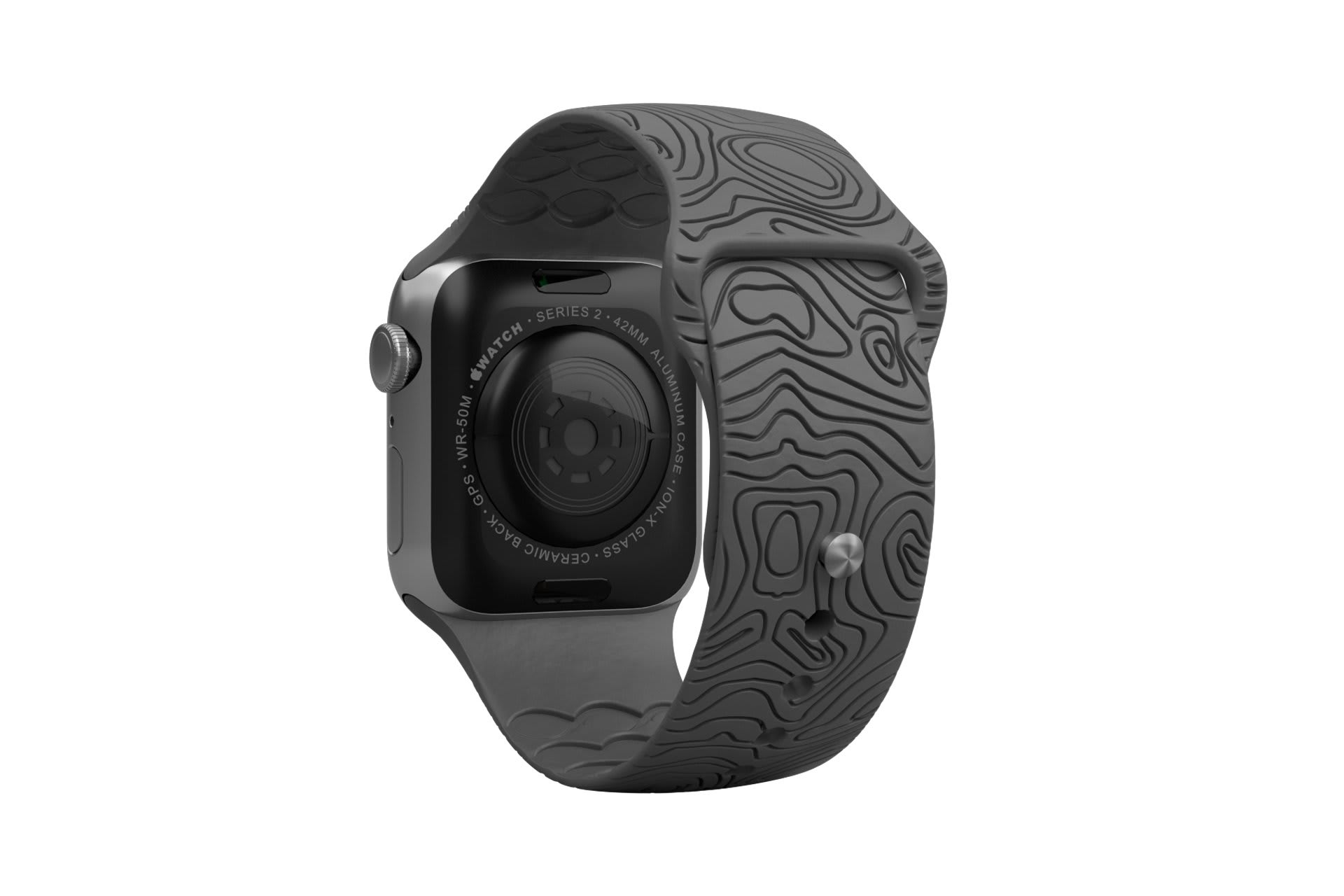 Dimension Topo Deep Stone Grey apple watch band with silver hardware viewed from rear