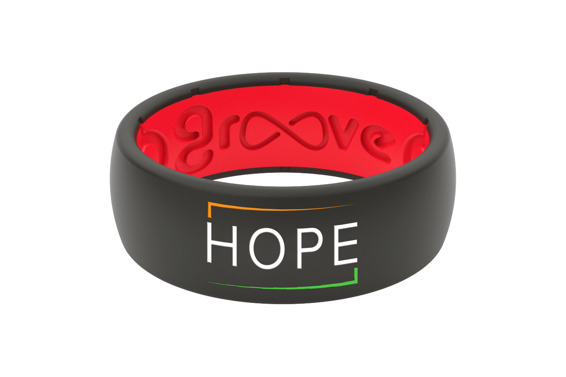 Original Solid E3 Hope Black/Red - Groove Life Silicone Wedding Rings