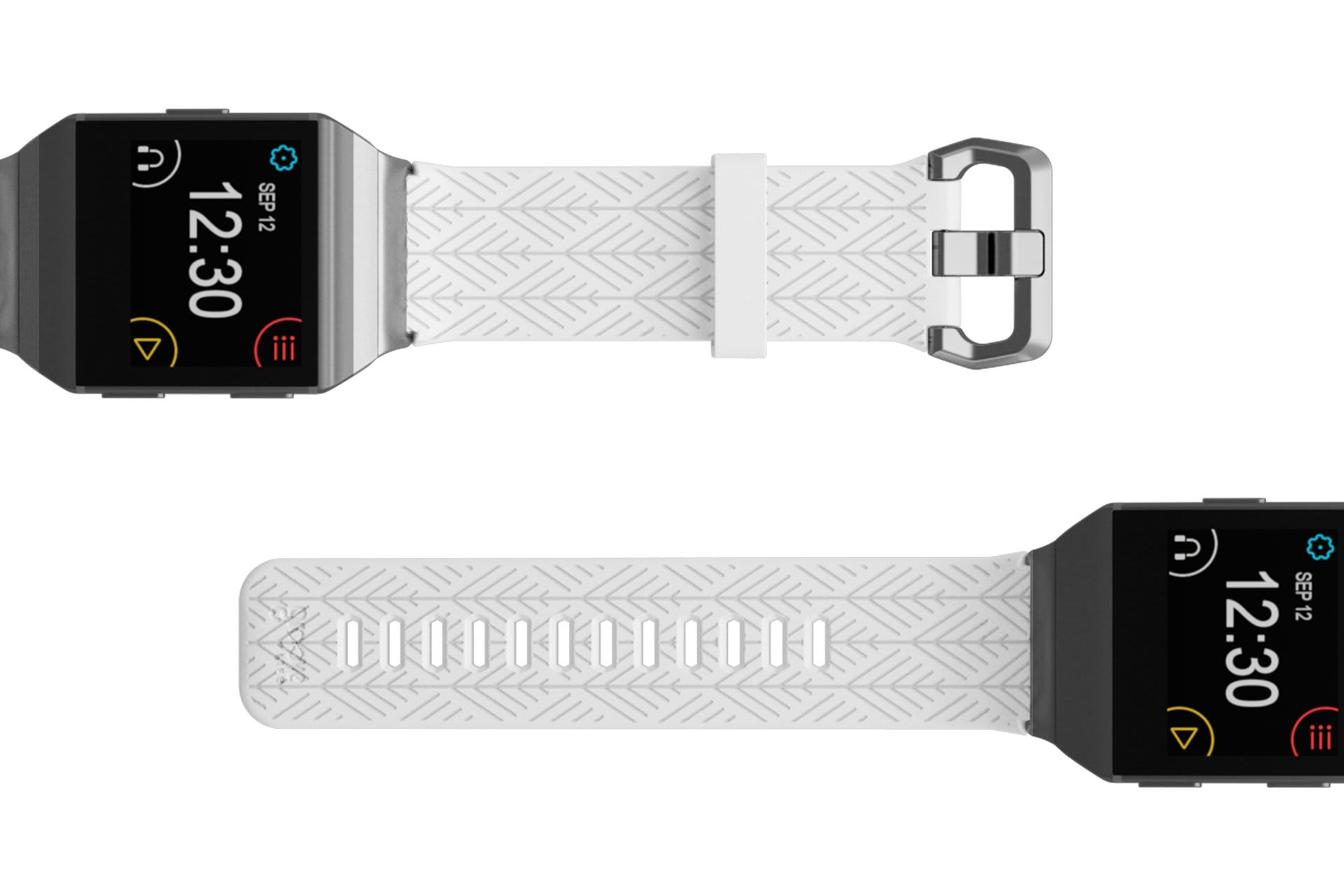 Dimension Arrows White Fitbit Ionic  watch band with silver hardware viewed top down
