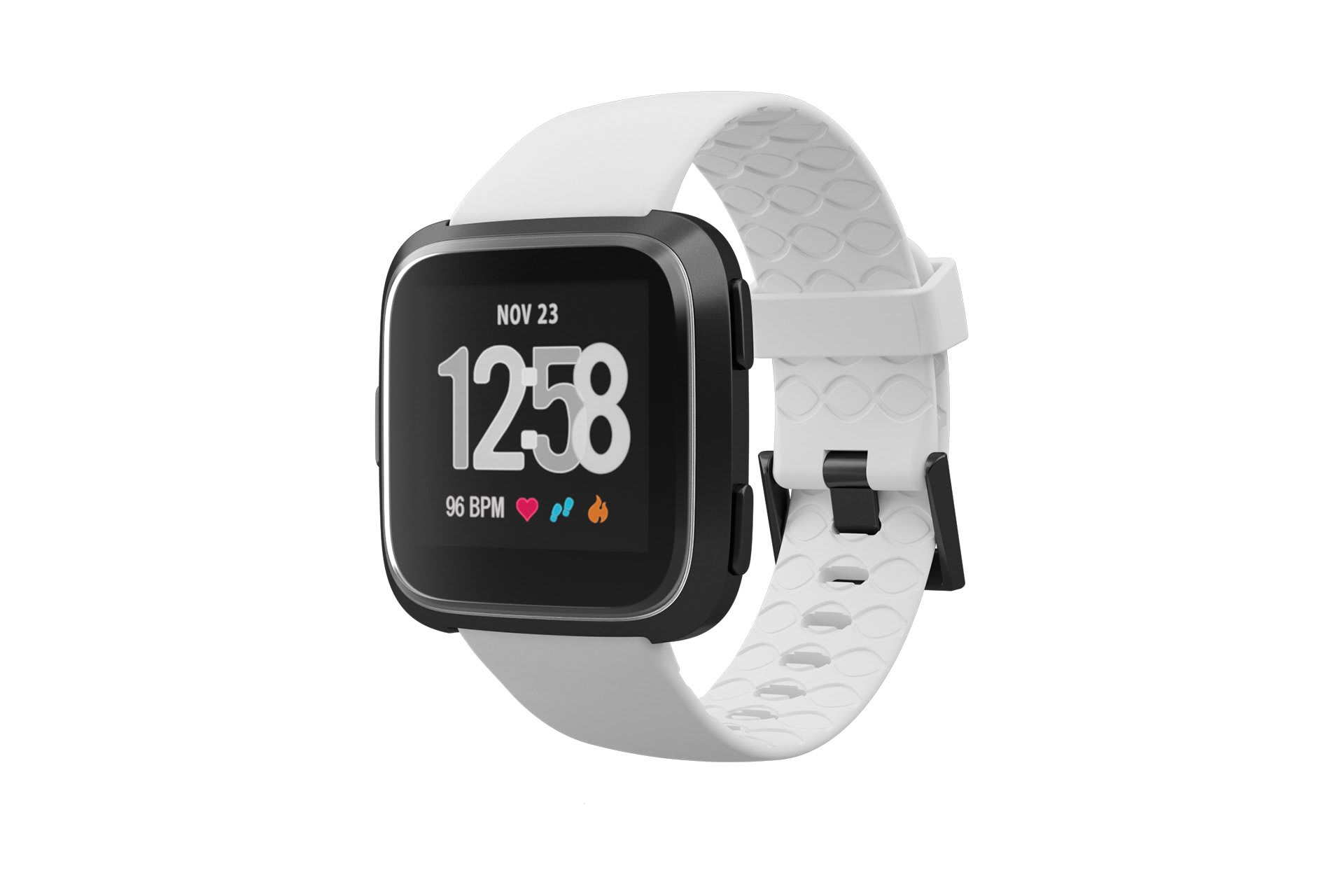 Fitbit Watch Band Versa Solid White with gray hardware viewed front on