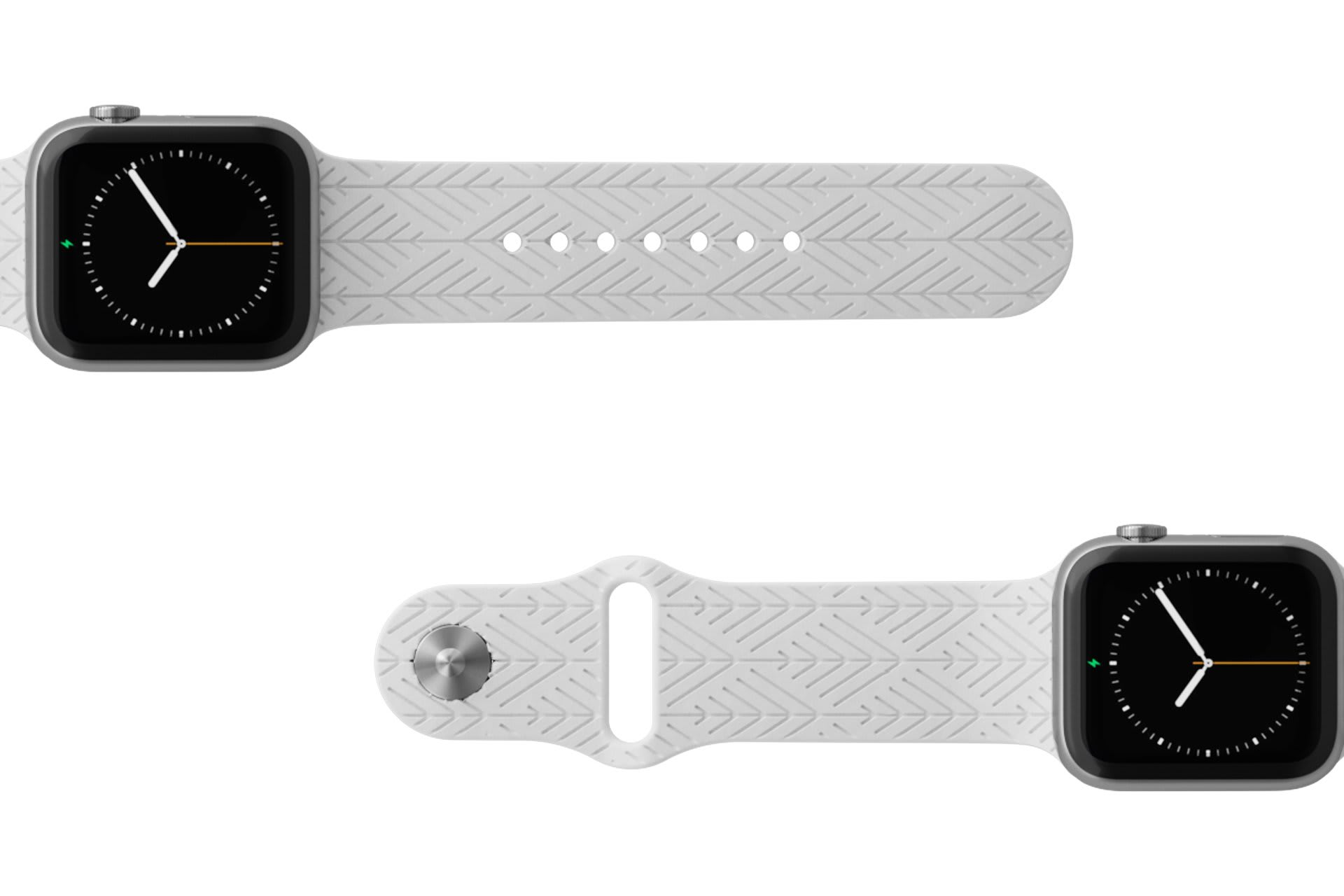 Dimension Arrows White Apple watch band with silver hardware viewed top down