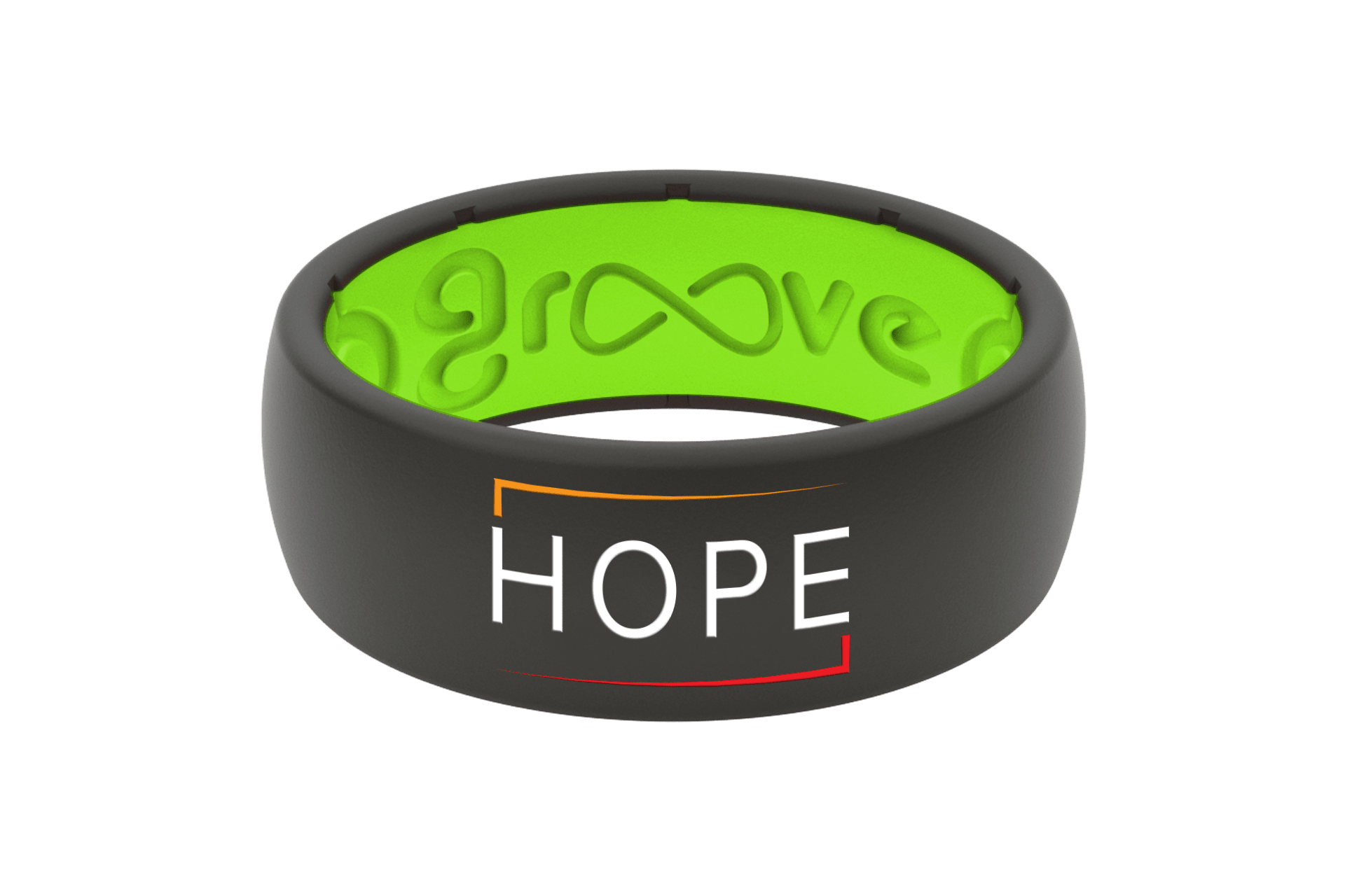 Original Solid E3 Hope Black/Green - Groove Life Silicone Wedding Rings