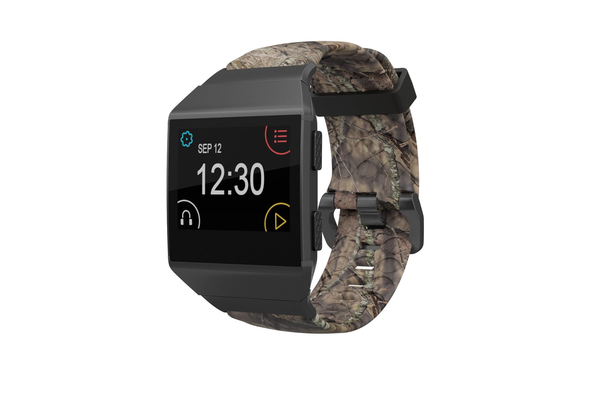 Ionic Mossy Oak Breakup  fitbit watch band with gray hardware viewed front on