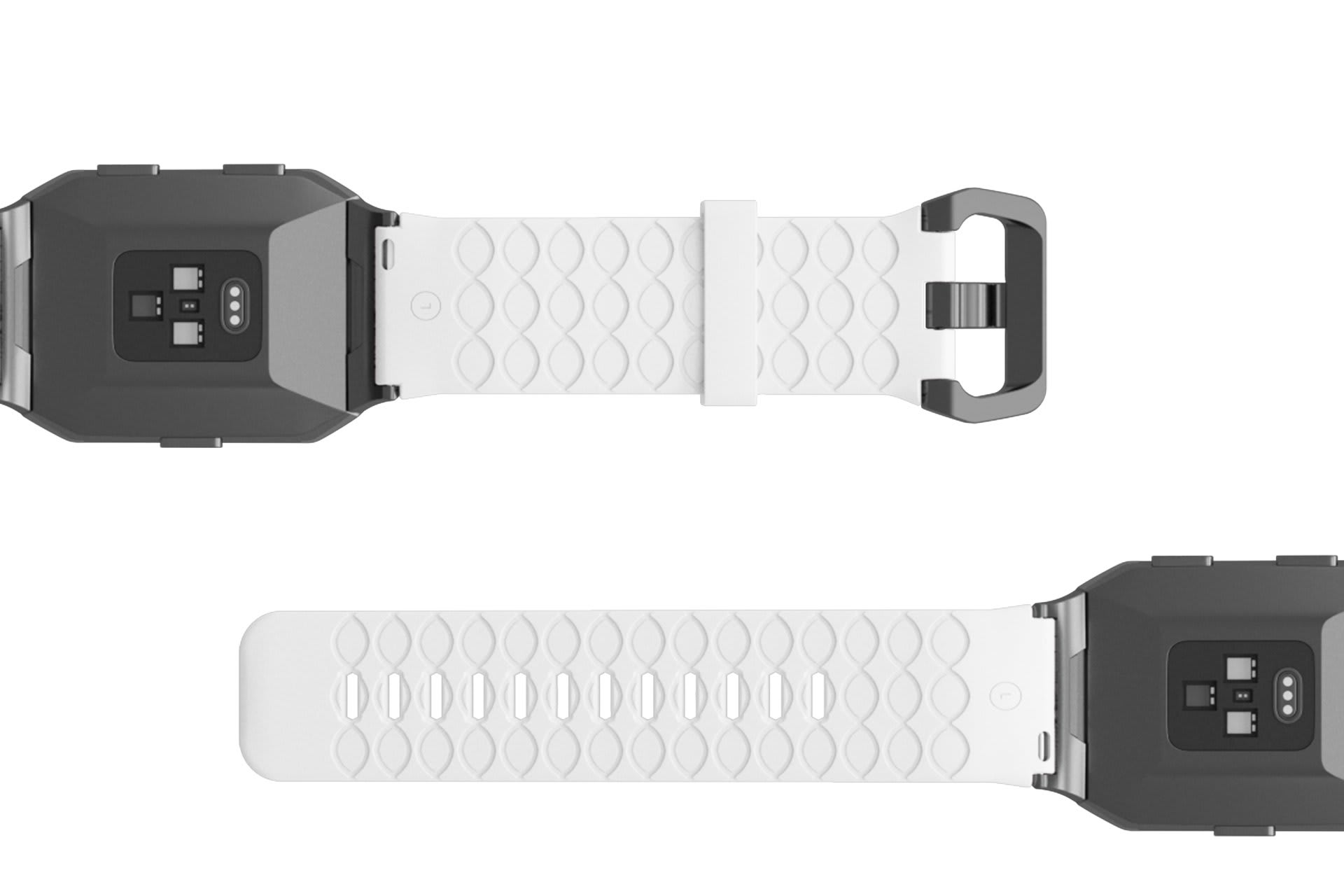 Dimension Arrows White Fitbit Ionic watch band with silver hardware viewed bottom up