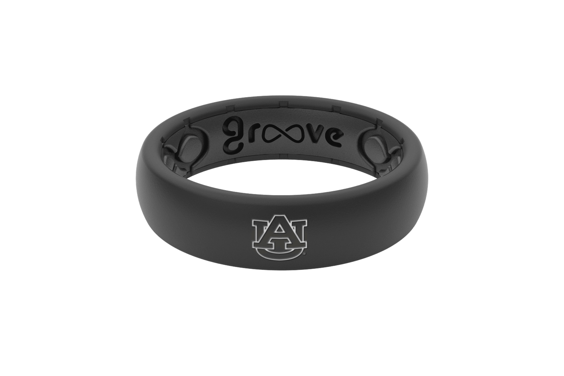 Thin College Auburn Black Logo - Groove Life Silicone Wedding Rings