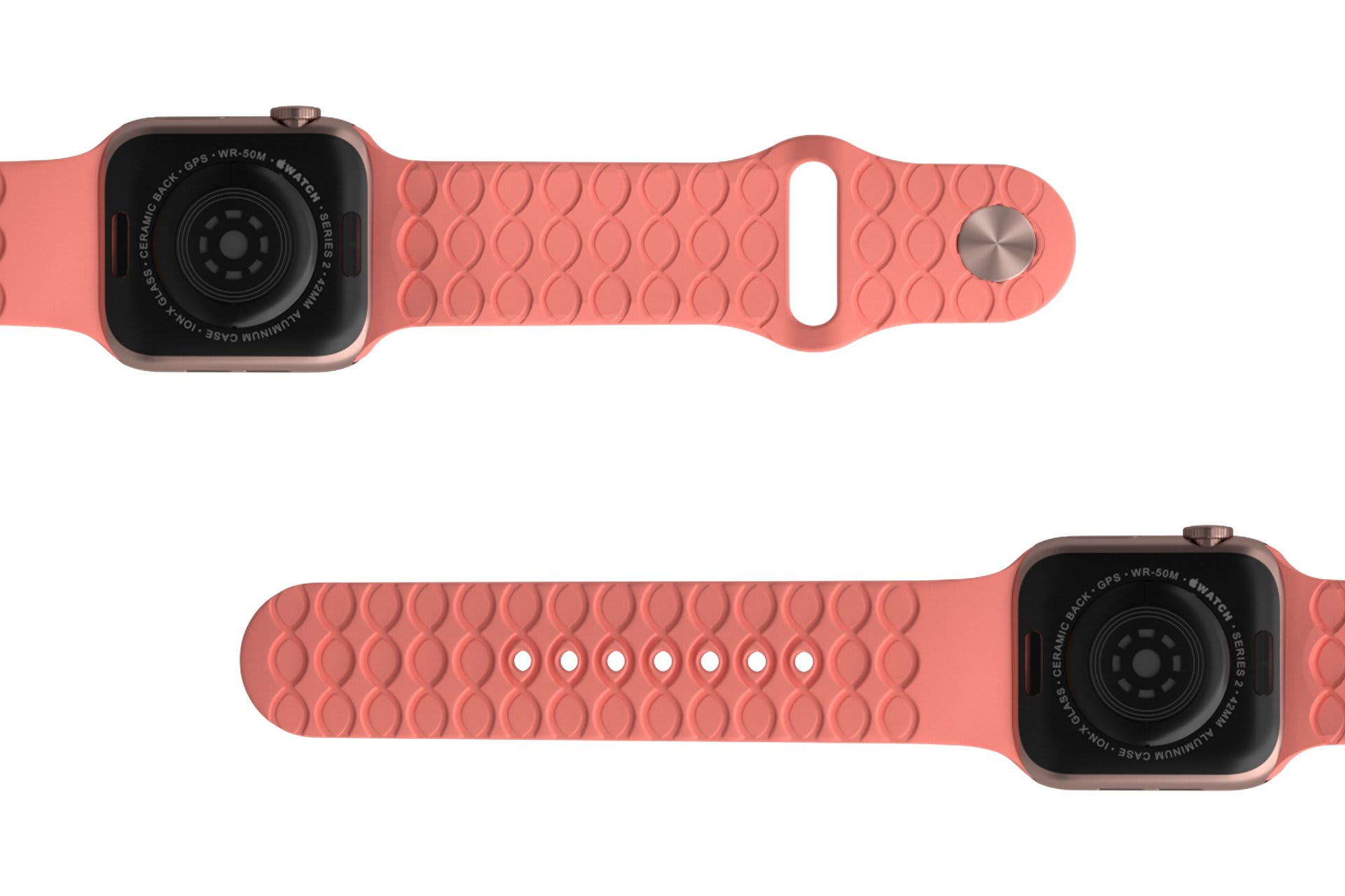 Solid Coral Apple watch band with rose gold hardware viewed bottom up