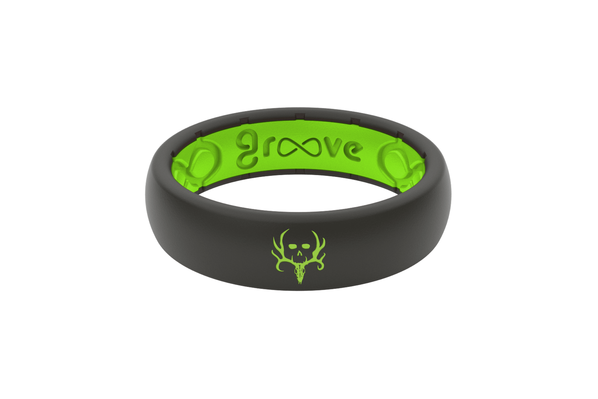 Thin Bone Collector Midnight Black/Green - Groove Life Silicone Wedding Rings