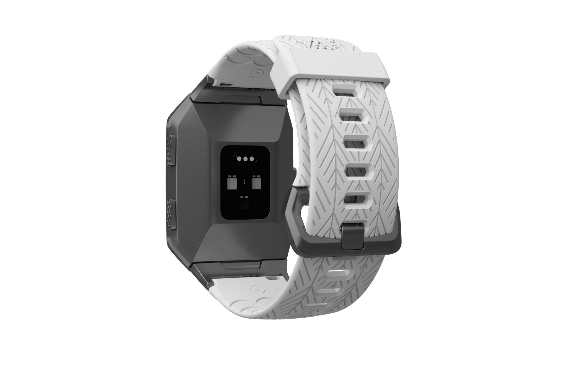 Ionic Dimension Arrows White   fitbit watch band with silver hardware viewed from top down