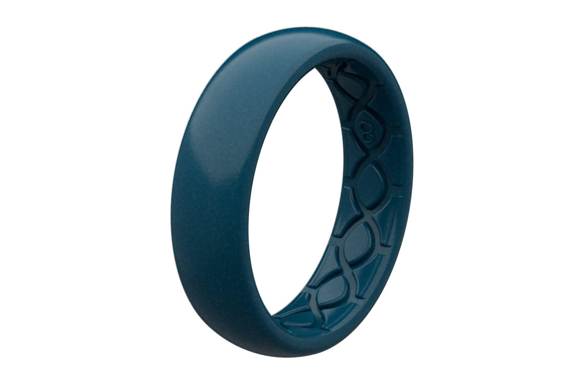 Thin Satin Dark Ocean - Groove Life Silicone Wedding Rings