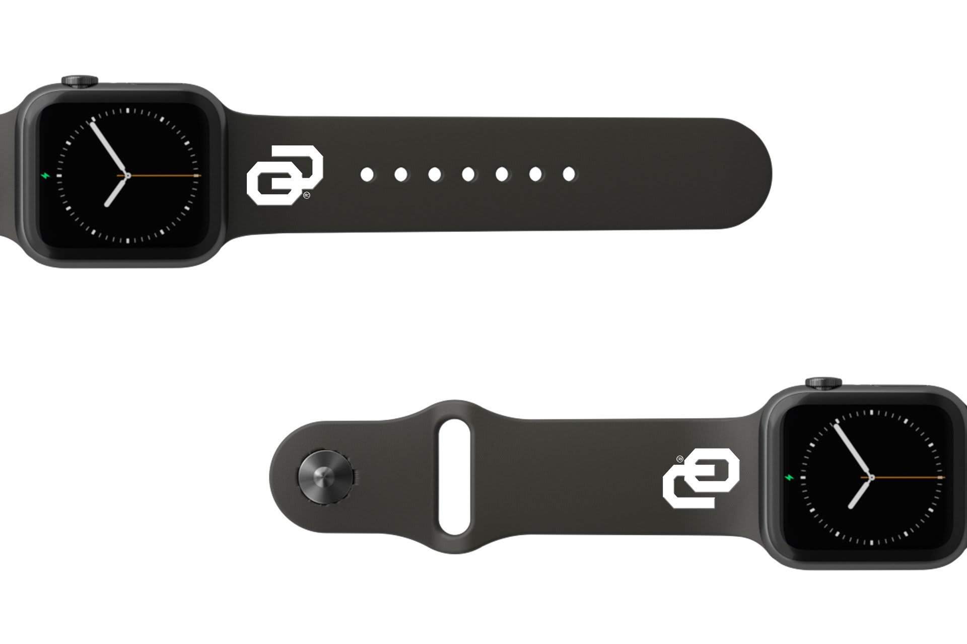 College Oklahoma Black apple watch band with gray hardware viewed from rear