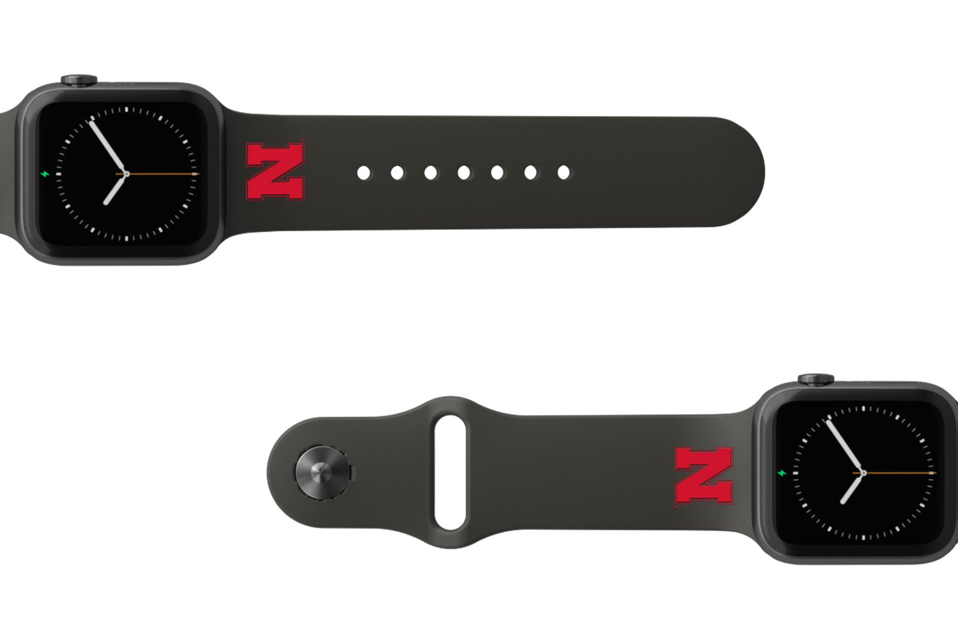College Nebraska Black  apple watch band with gray hardware viewed from rear