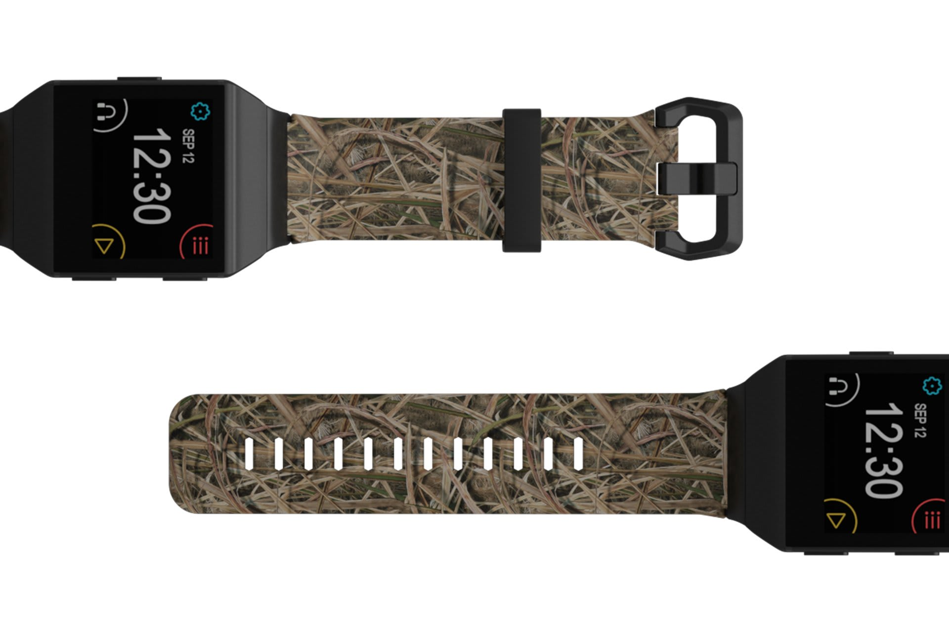 Mossy Oak Blades Fitbit Ionic  watch band viewed top down