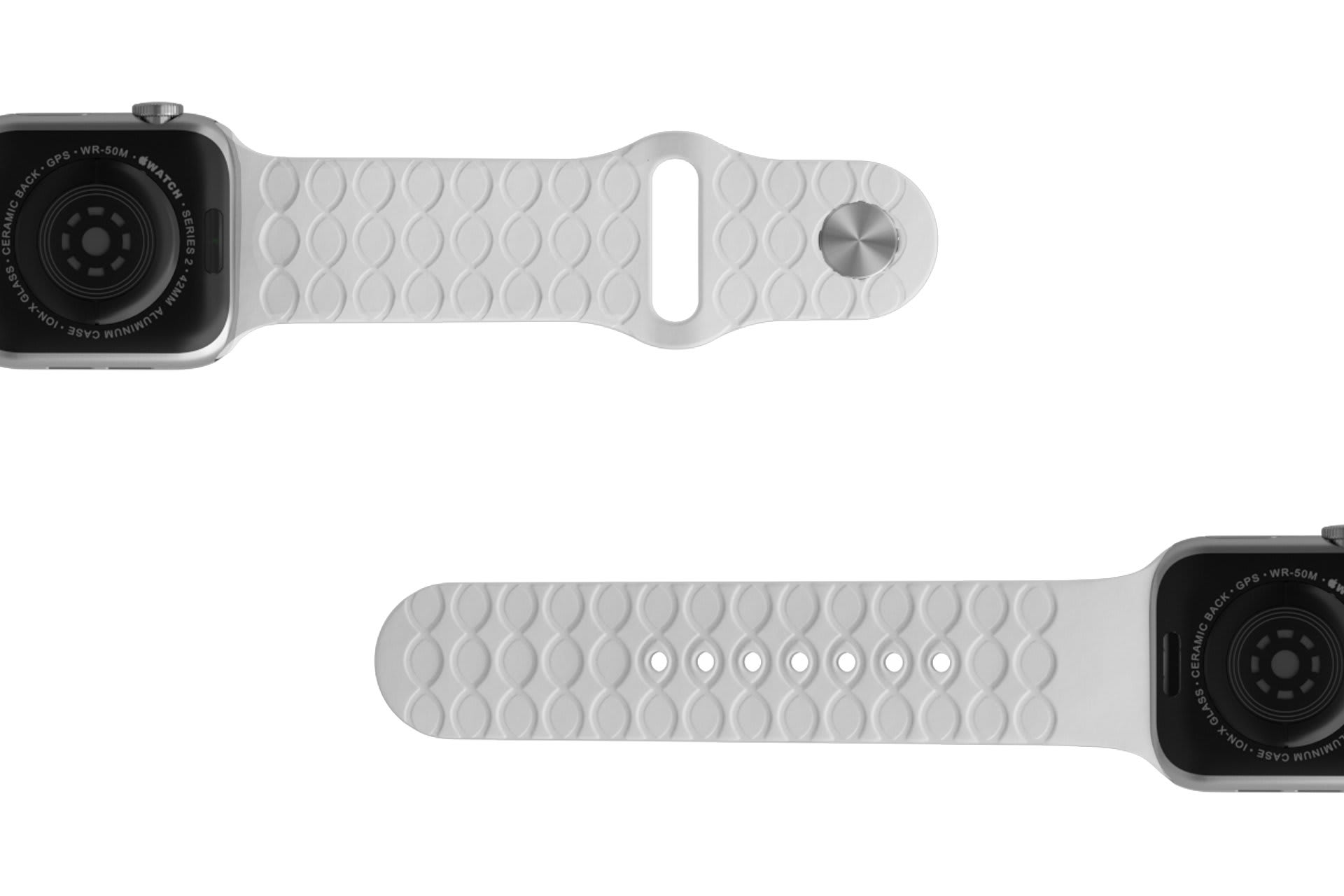 Dimension Arrows White Apple   watch band with silver hardware viewed bottom up