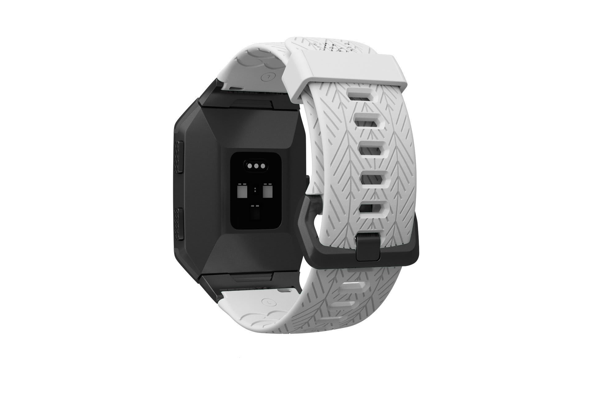 Ionic Dimension Arrows White   fitbit watch band with gray hardware viewed from top down