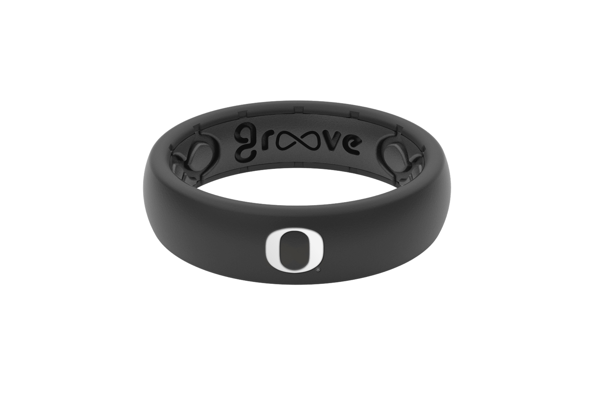 Thin College Oregon Black - Groove Life Silicone Wedding Rings
