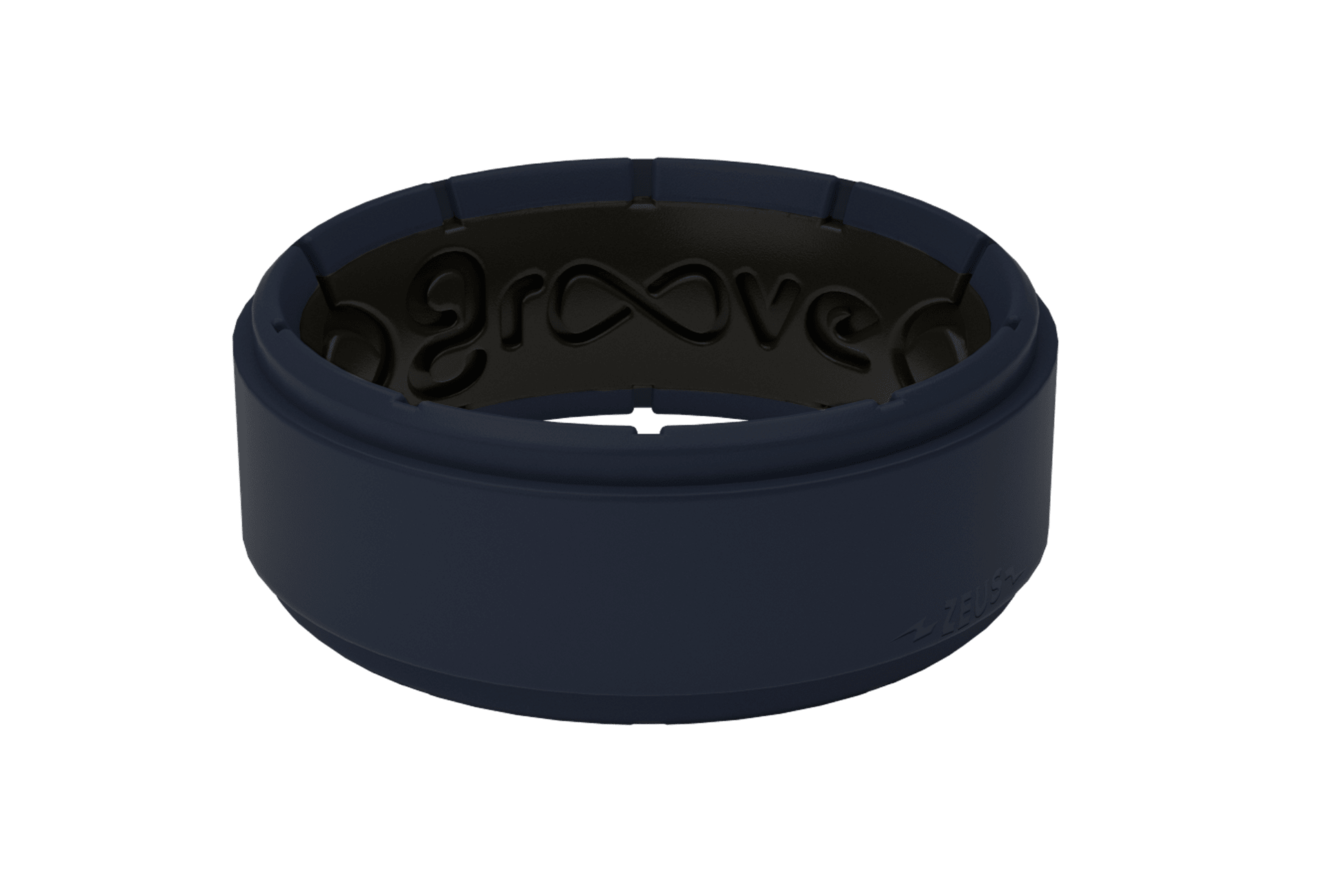 Zeus Step Deep Navy/Black - Groove Life Silicone Wedding Rings