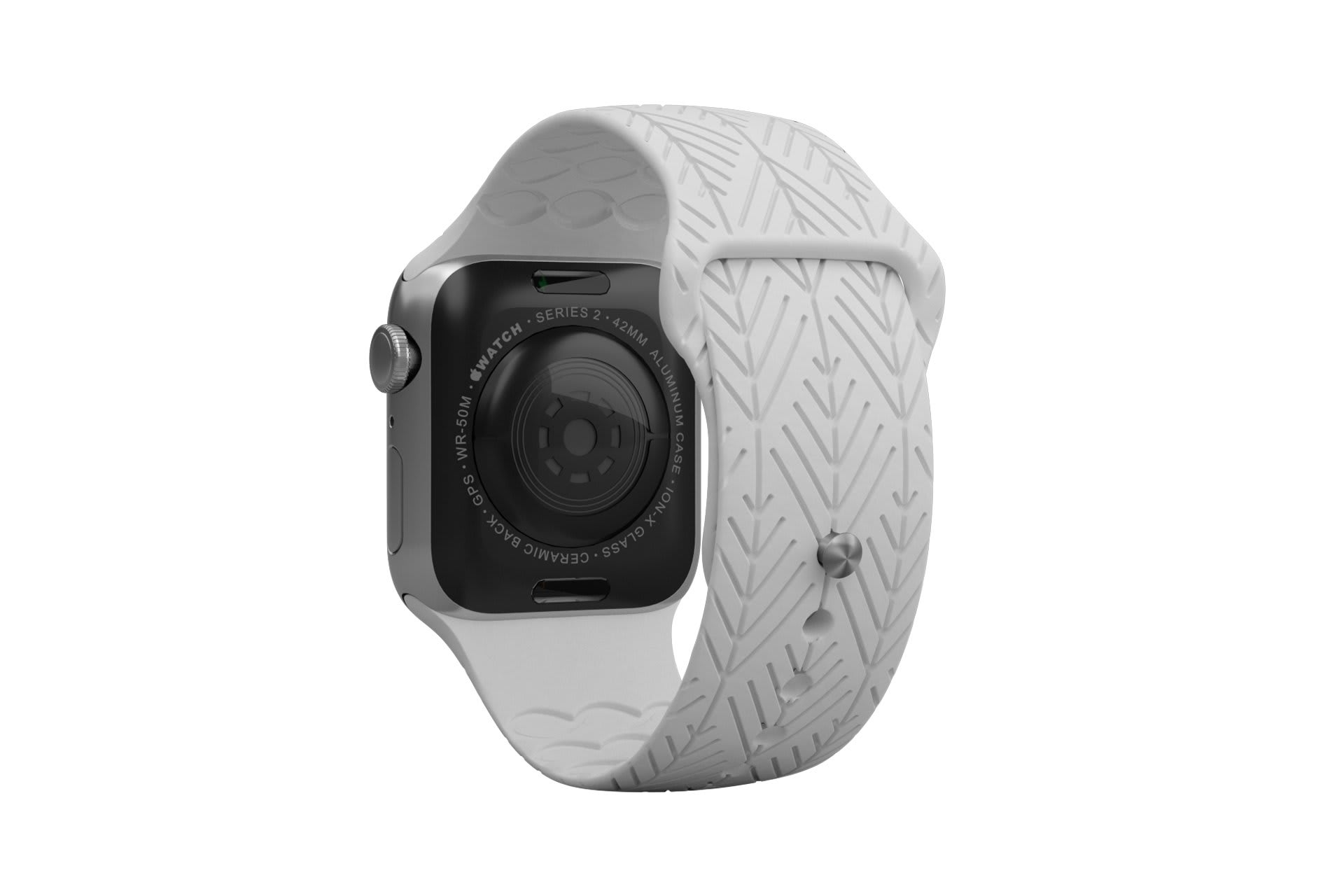 Dimension Arrows White apple watch band with silver hardware viewed from rear