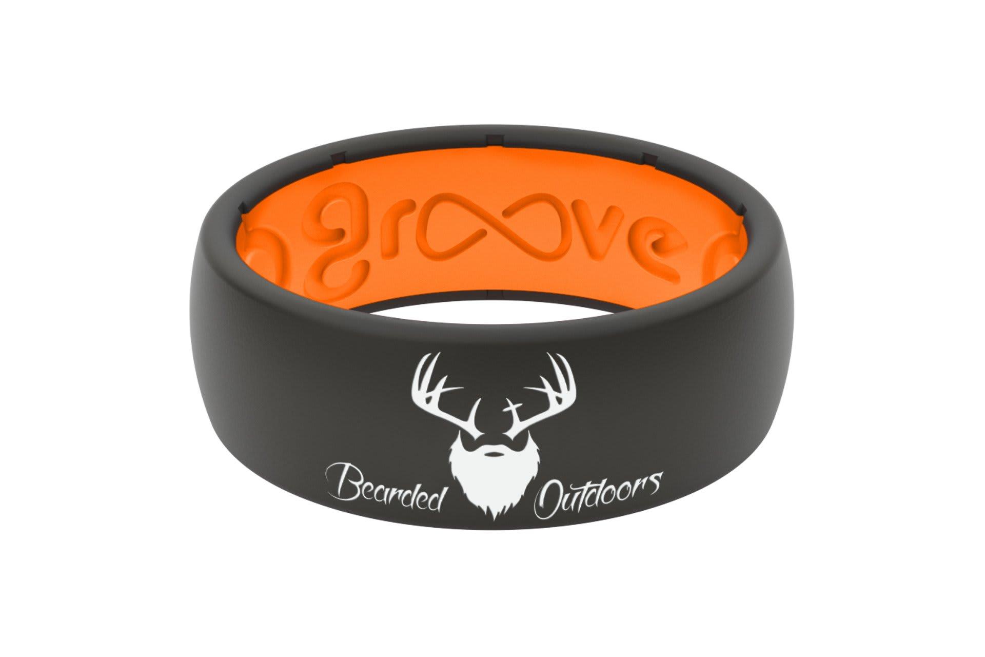 Original Bearded Outdoors Black/Orange - Groove Life Silicone Wedding Rings