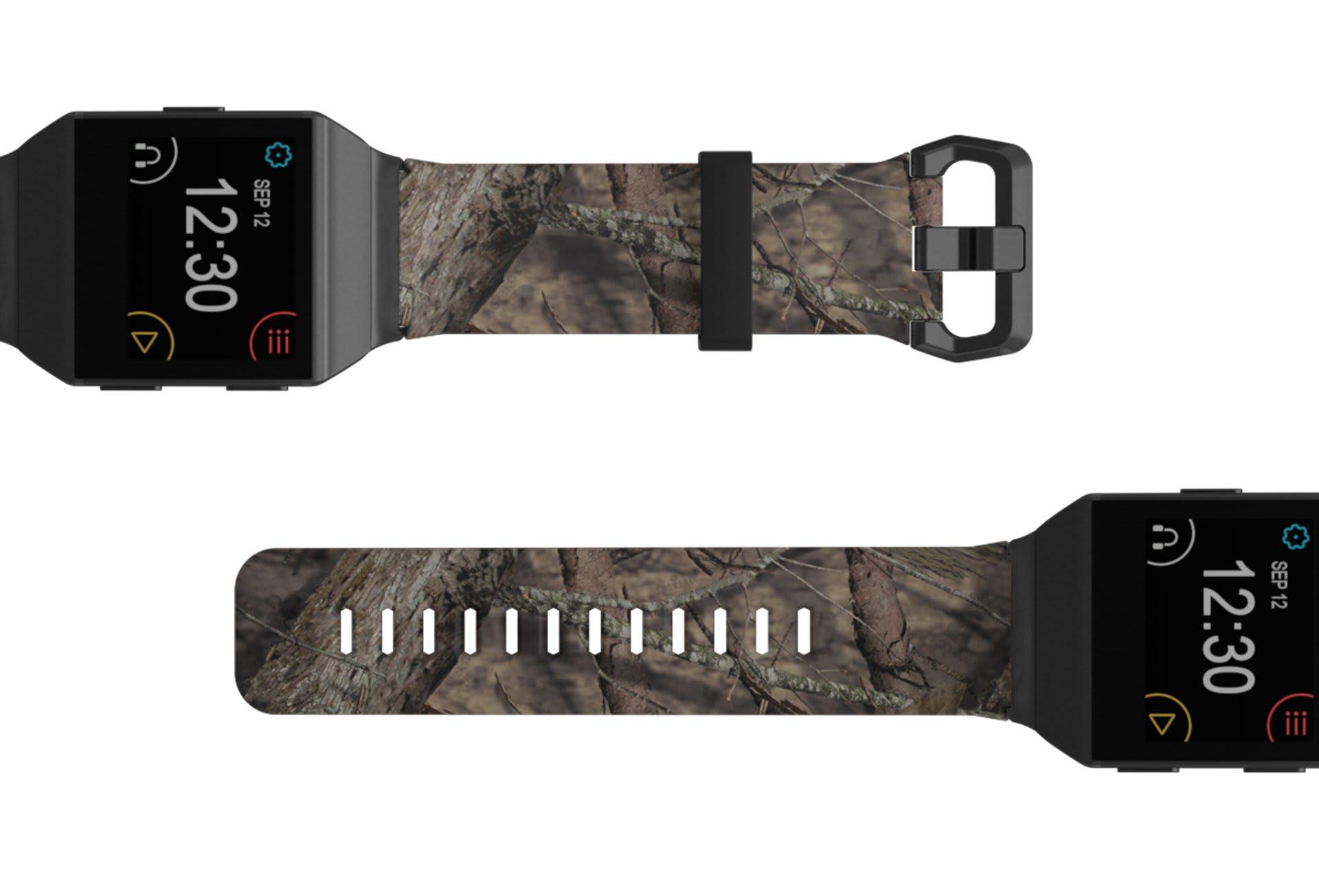 Mossy Oak Breakup Fitbit Ionic watch band viewed top down