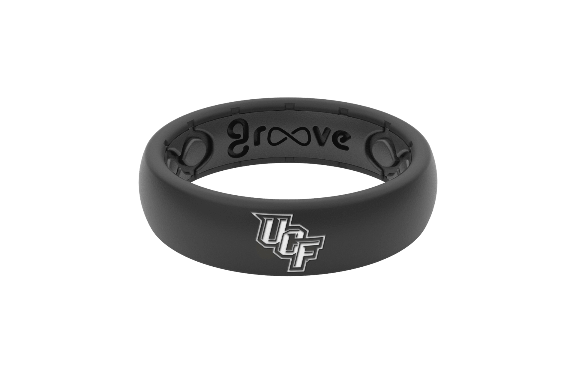 Thin College Central Florida Black Logo - Groove Life Silicone Wedding Rings