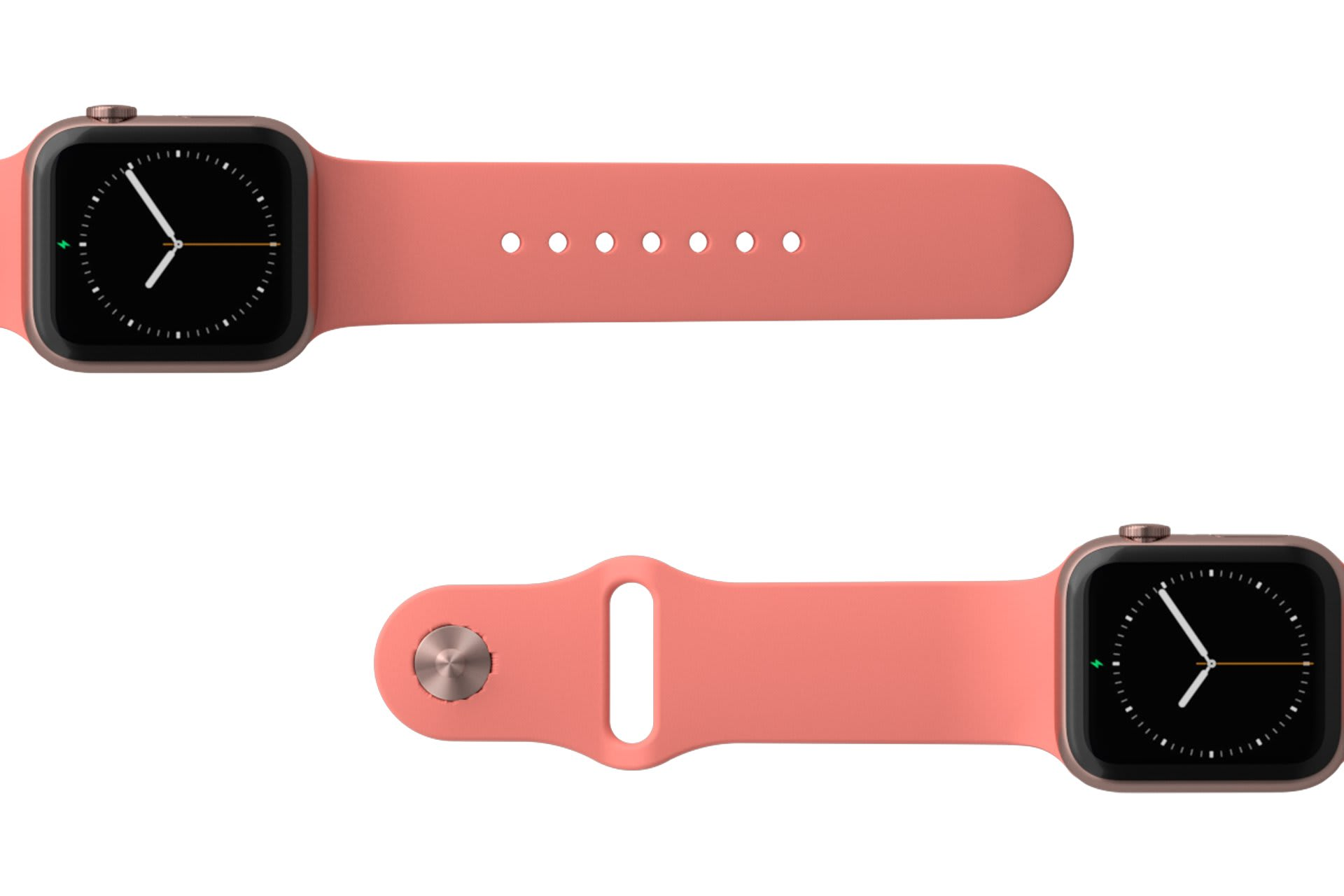 Solid Coral Apple watch band with rose gold hardware viewed top down
