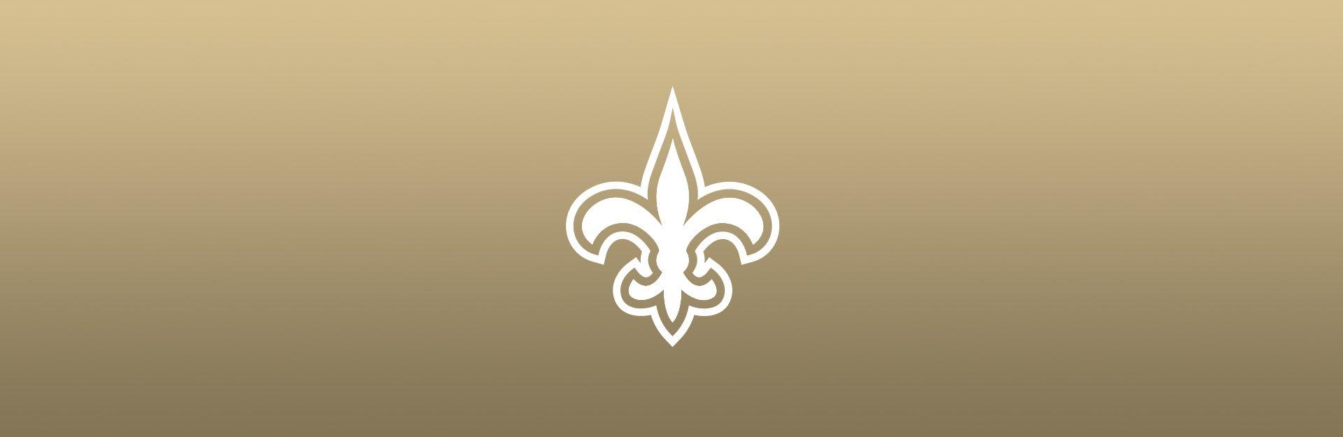 New Orleans Saints logo overlaid on tan background