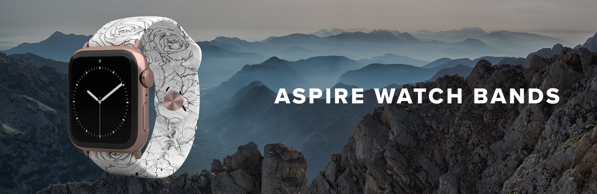 Aspire Watch Bands, a Winter Rose watch band is overlaid on very rocky mountains