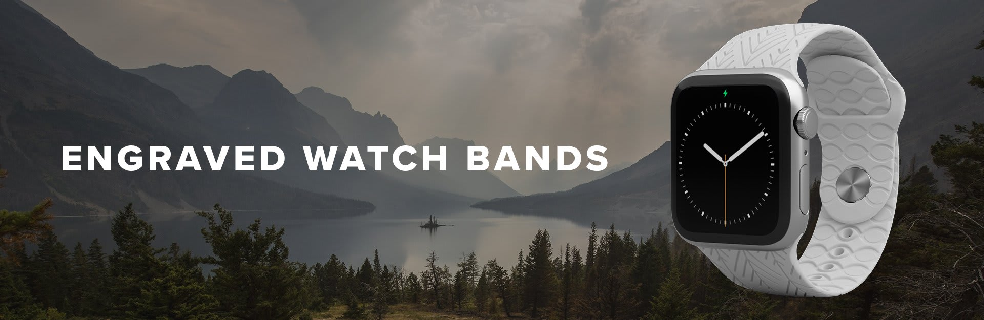 Engraved Watch Bands, solid white watch overlaid on mountain lake
