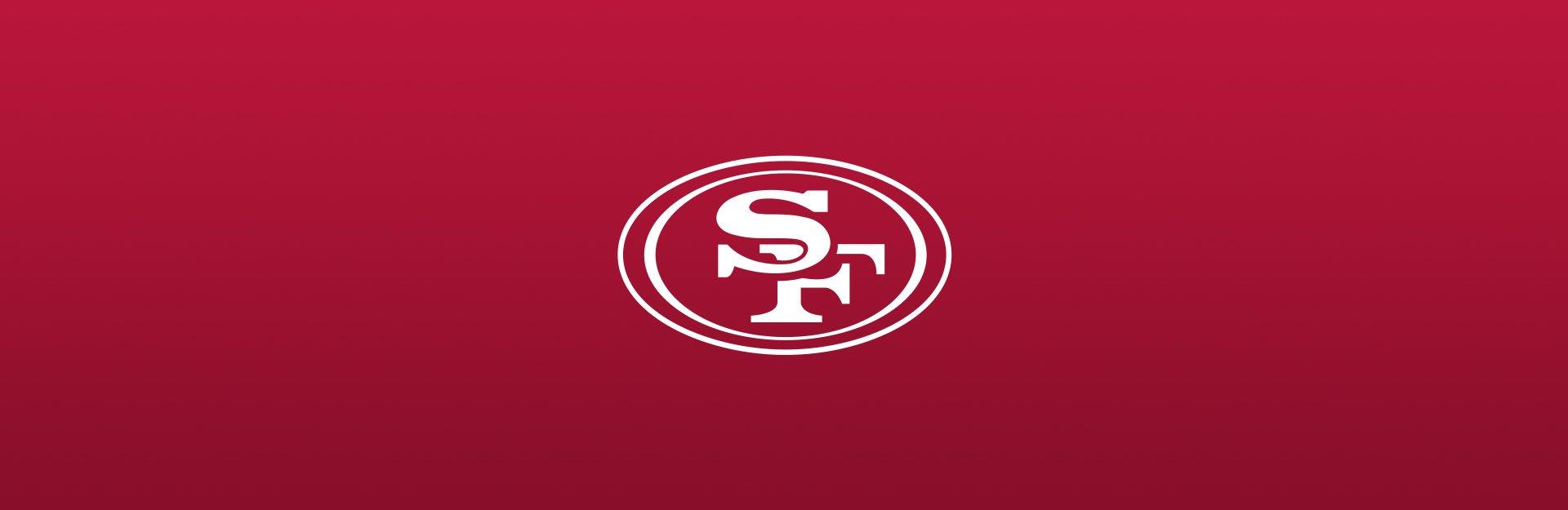 San Francisco 49ers, logo overlaid on red background
