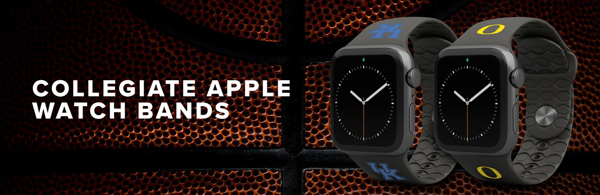 College Watch Bands, Kentucky and Oregon watch bands overlaid on basketball