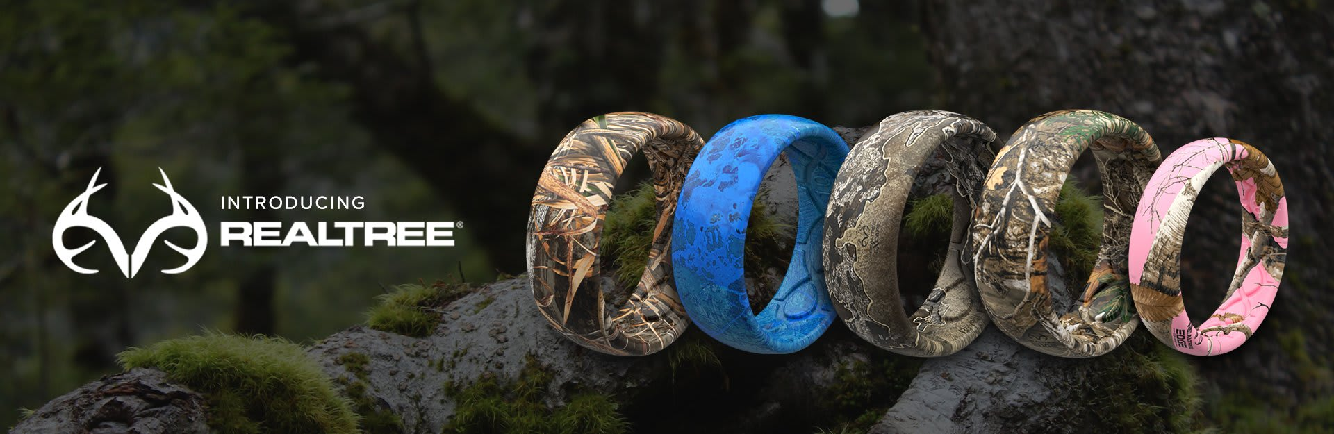 Realtree, many realtree rings are overlaid on a background of a forest
