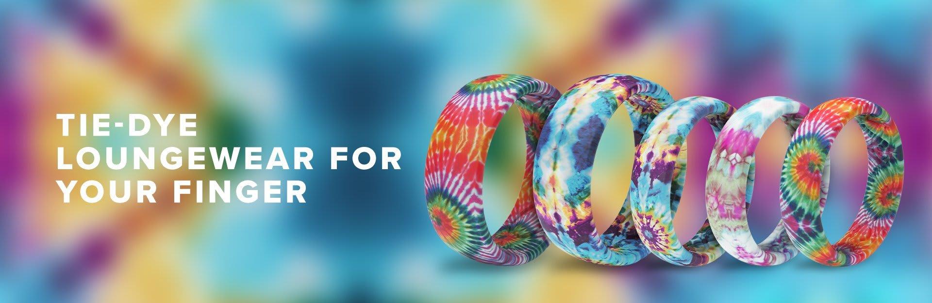 Tie Dye Rings, all Tie Dye rings overlaid on Tie-Dye background