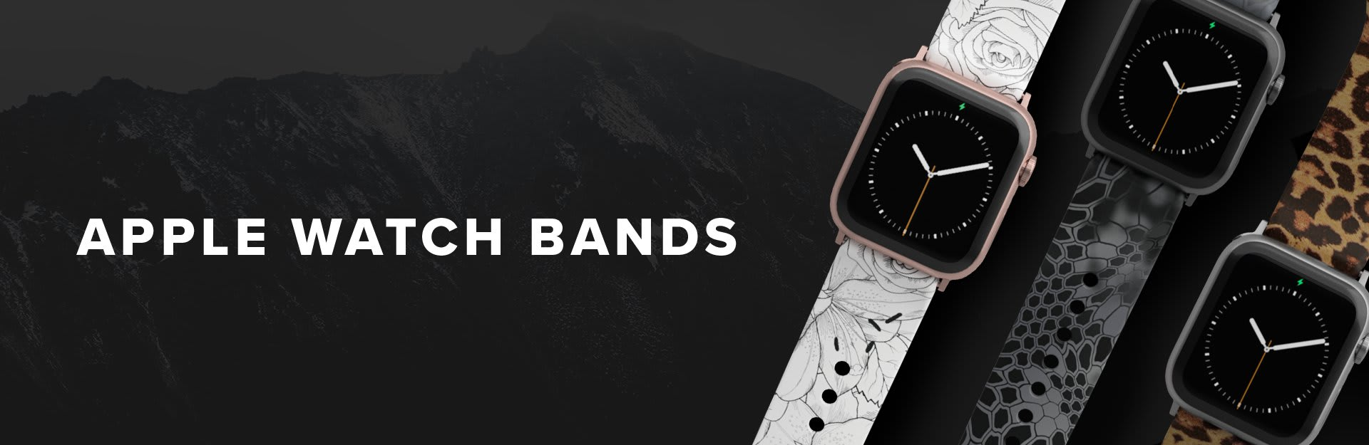Apple Watch Bands, a winter rose, kryptek typhon and leopard watch band are laid out next to each other
