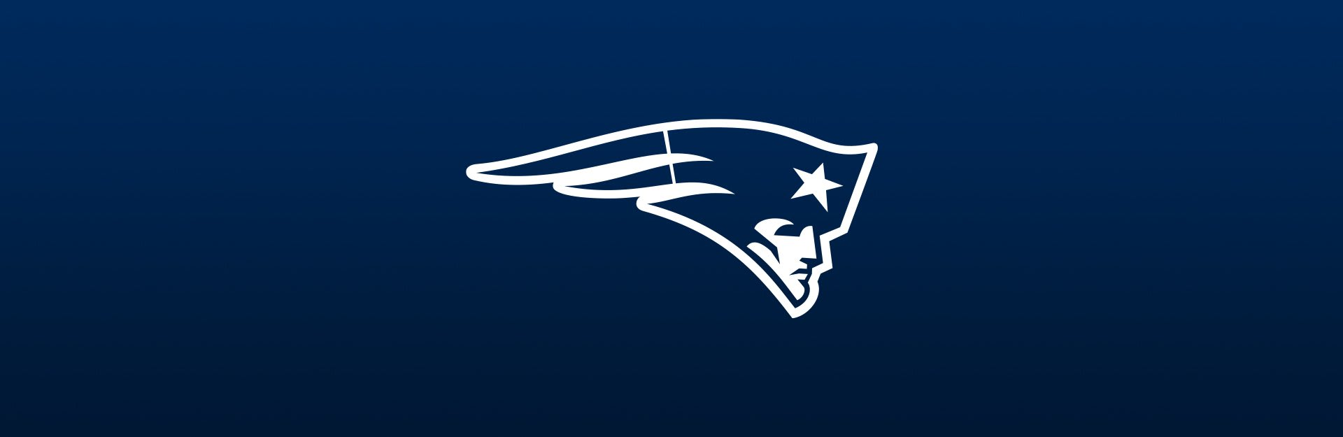 New England Patriots logo overlaid on navy blue background