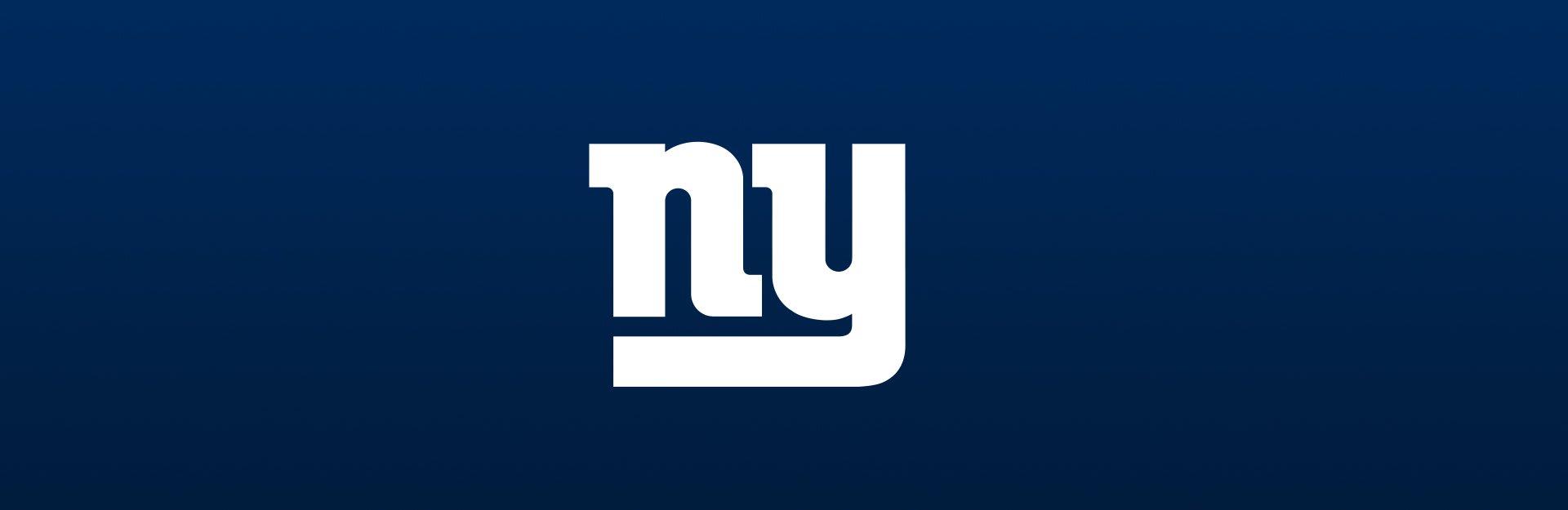 New York Giants logo overlaid on blue background