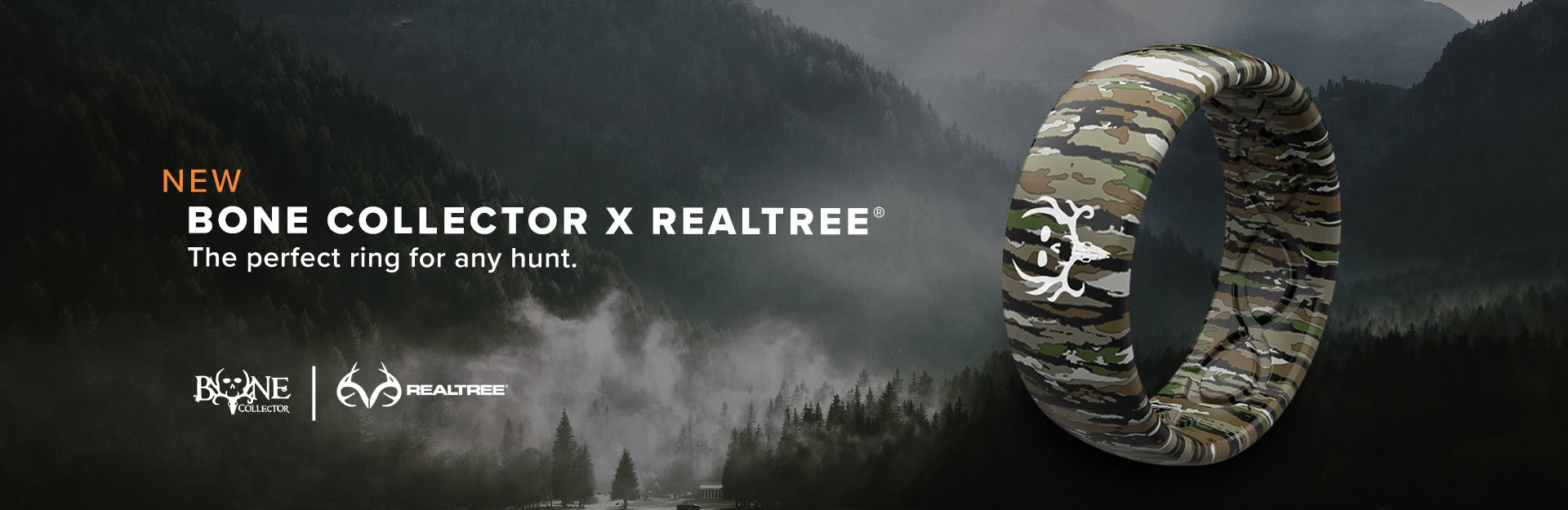 Bone Collector x Realtree, a Bone Collector Bottomlands ring is overlaid on a valley