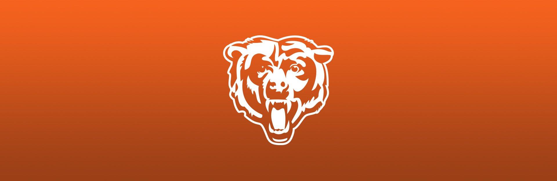 Chicago Bears logo on orange background