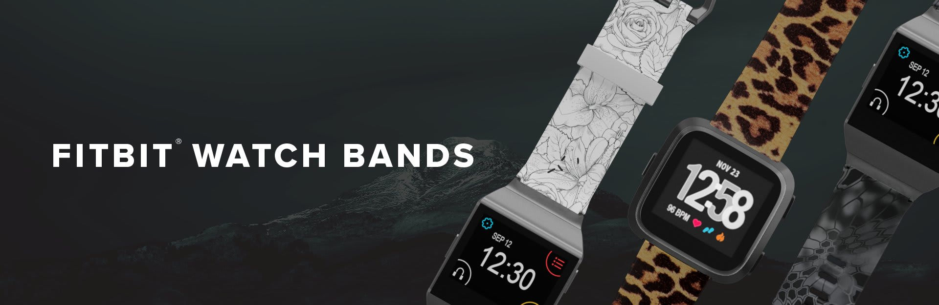 Fitbit Watch Bands, winter rose, leopard, and kryptek typhon alongside each other