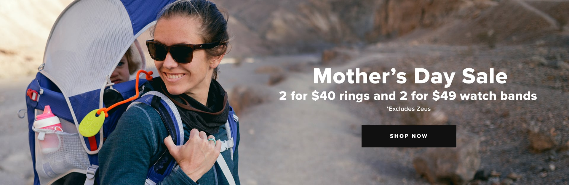 Shop Mother's Day Sale,  2 for $40 rings and 2 for $49 watch bands