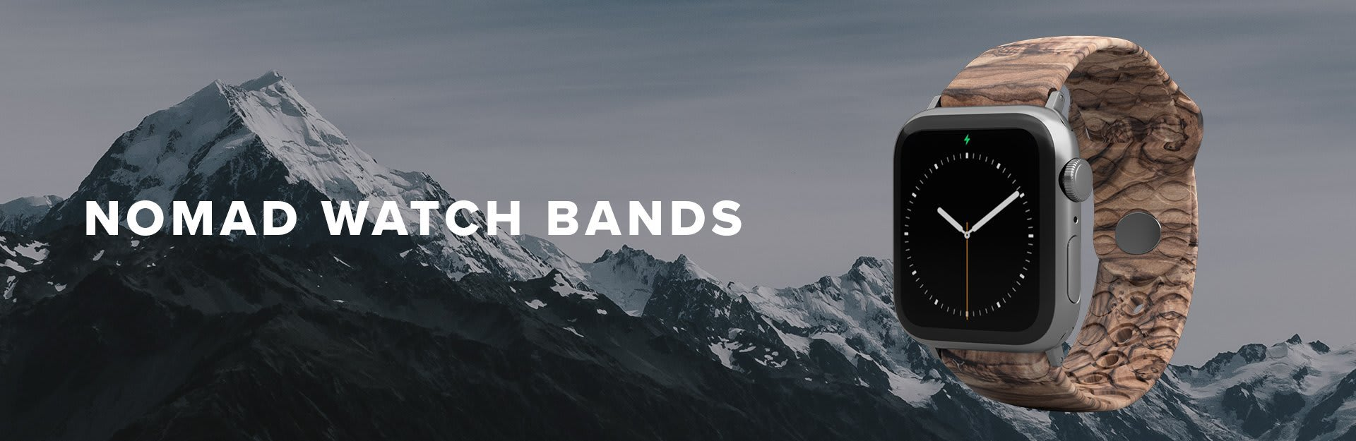 Nomad Watch Bands, burled walnut watch band overlaid on snowy mountains