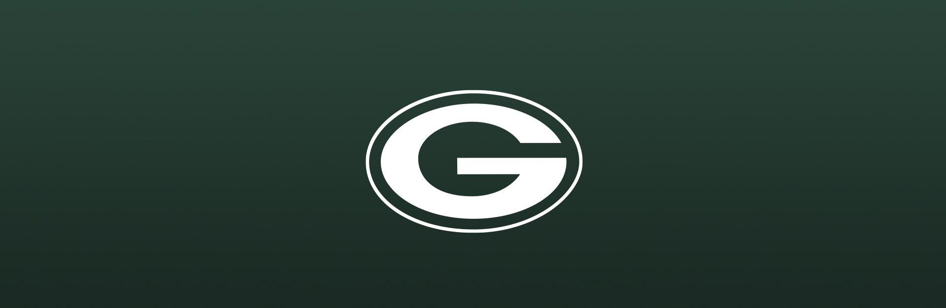 Green Bay Packers logo overlaid on dark green background