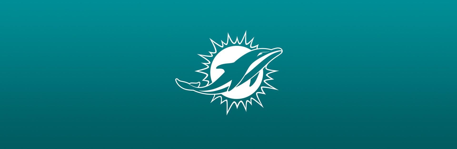 Miami Dolphins logo on blue background