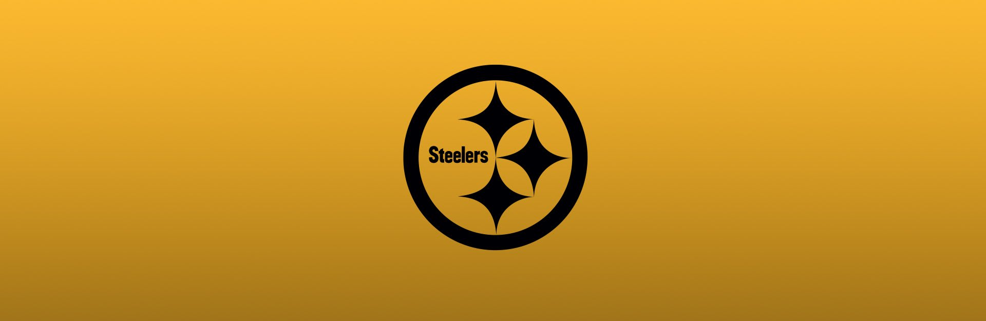 Pittsburgh Steelers logo overlaid on yellow-gold background
