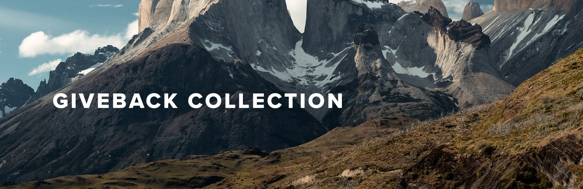 Giveback Collection, landscape of mountains with snow