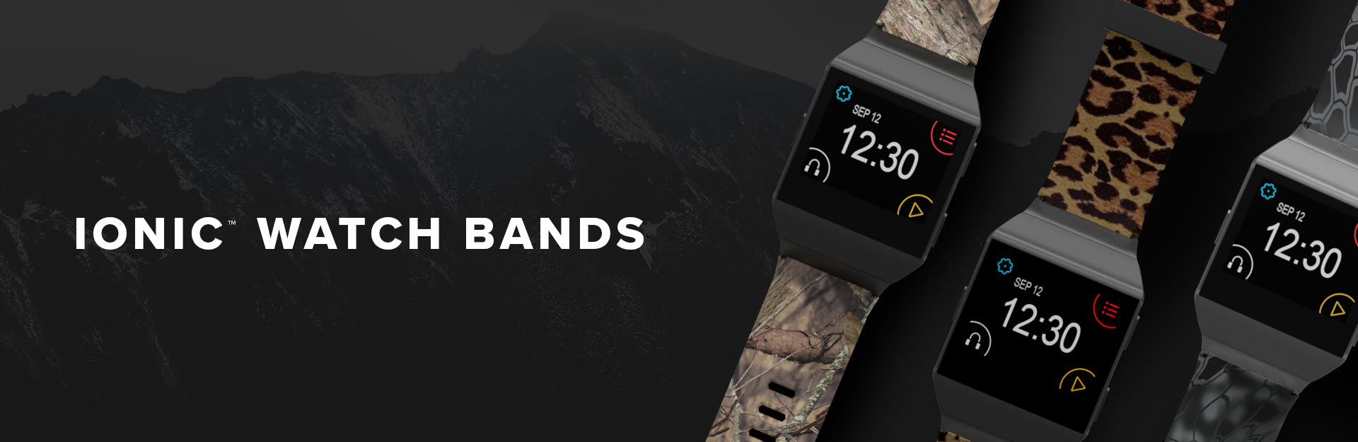 Ionic Watch Bands, Kryptek Typhon, Leopard, Winter Rose watch bands overlaid on mountainscape