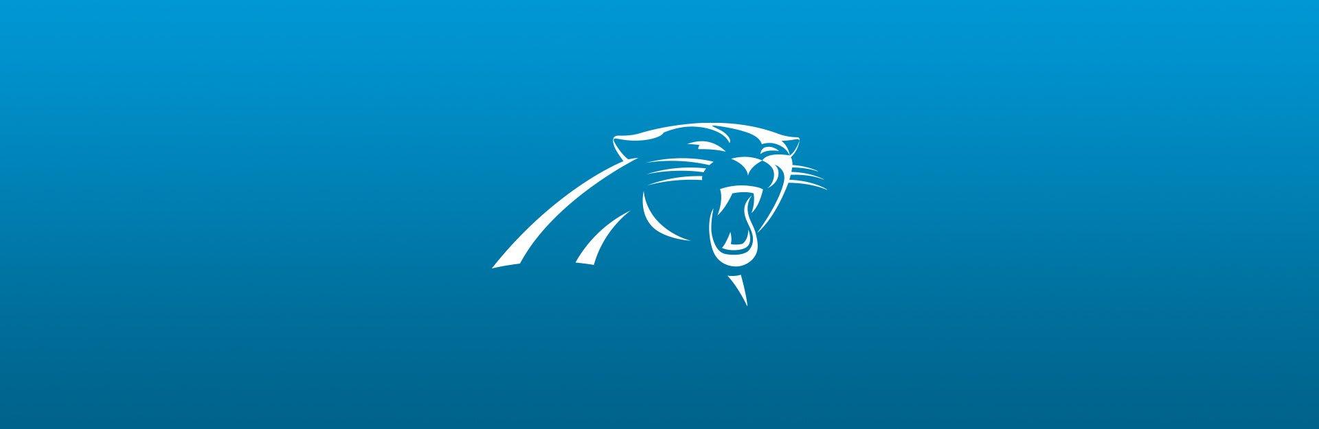 Carolina Panthers logo on blue background