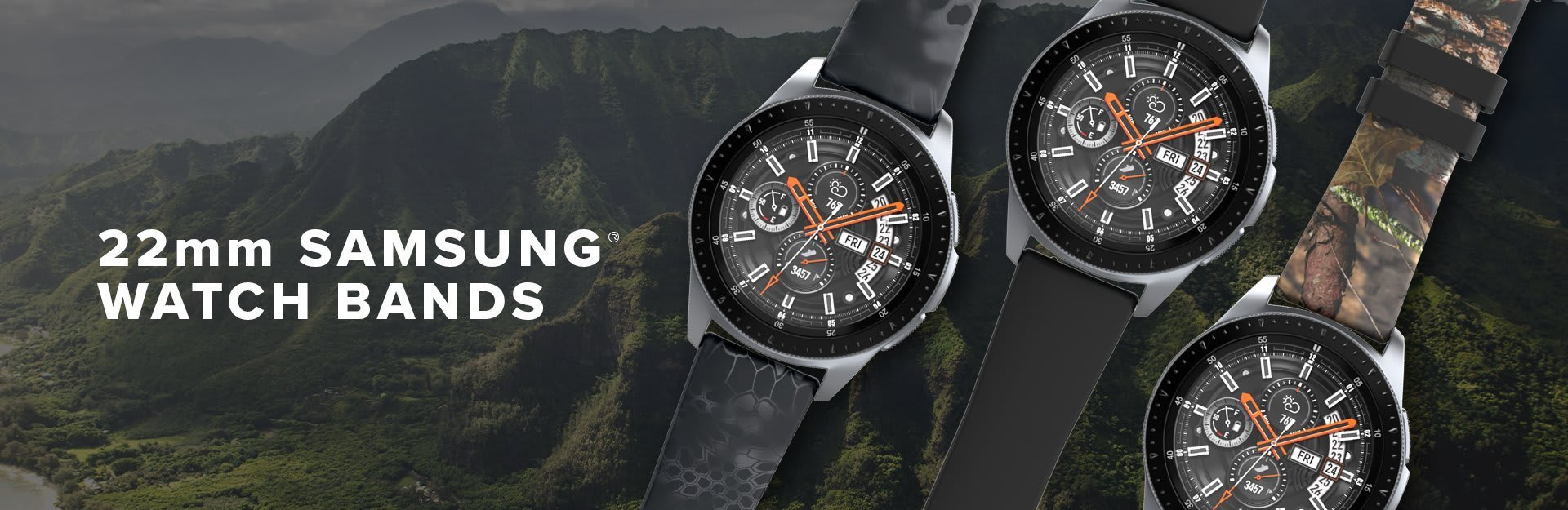 22mm Samsung Watch Bands, several samsung watches are overlaid on a background of tropical-looking mountains