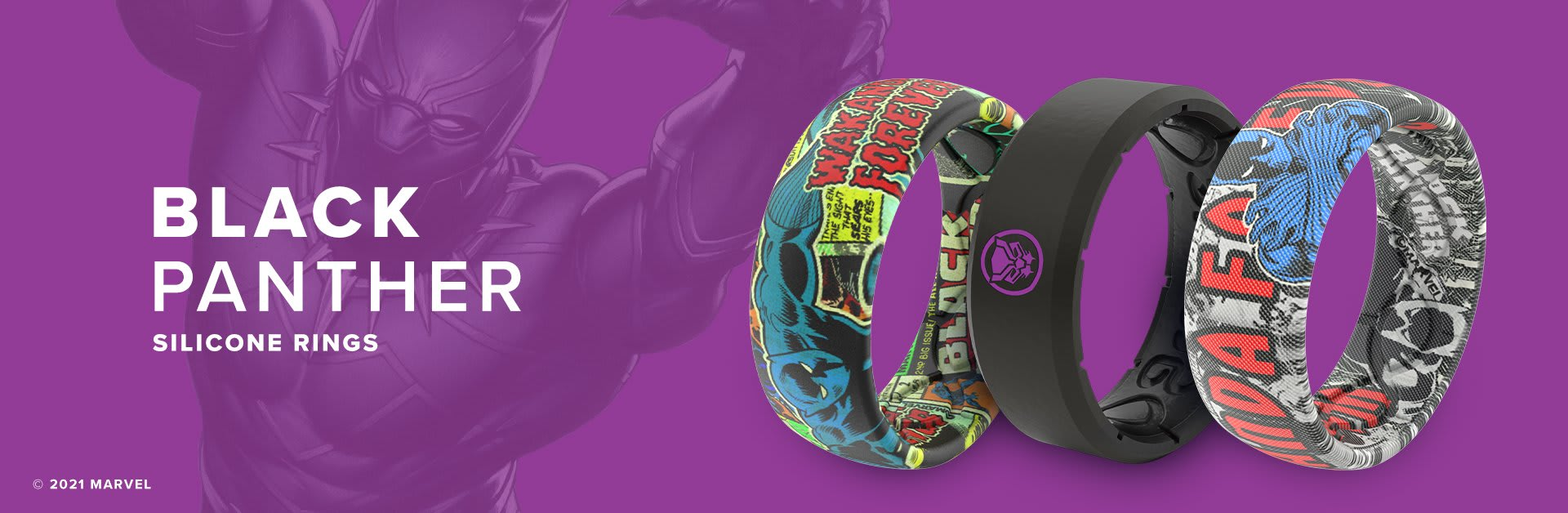 Black Panther Silicone Rings